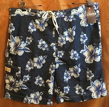 Chaps Mens Swim Board Shorts navy w/ hibiscus flowers lined mens size XXL NWT