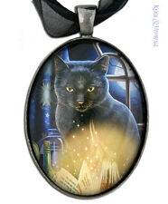 "Lisa Parker Illustrated Necklace with Ribbon: ""Bewitched"" Black Cat Pagan"