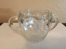 Vintage/Antique Cut Heavy Glass Sugar Bowl with Scalloped Edge - EUC