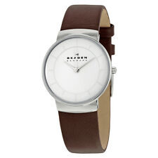 Skagen White Dial Brown Leather Ladies Watch SKW2058