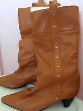 Women lady Japan Fin Camel Brown Meidum height Real leather Boots Shoes