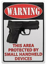 """12"""" x 17"""" Tin Metal Gun Sign Warning Area Protected By Small Handheld Devices"""