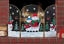 Snowman Christmas Fireplace Screen Birds Pine Trees Snowflakes Holiday Decor New