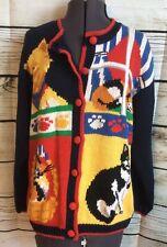 Alexandra Bartlett Cat Cardigan Sweater Sz XL Ugly Tacky Crazy Lady Kitty Womens