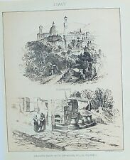 OLD ANTIQUE PRINT ITALY FLORENCE POMPEII BAKERS SHOP GRINDING MILL c1890's