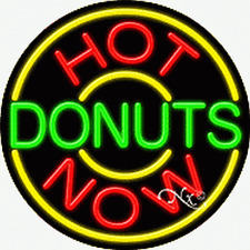 "BRAND NEW ""HOT DONUTS NOW"" 26x26x3 REAL NEON SIGN W/CUSTOM OPTIONS 11320"
