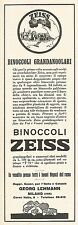 W2050 Binoccoli Grandangolari ZEISS - Pubblicità del 1929 - Vintage advertising