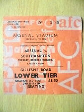 Tickets- League Cup, 3rd Round 1977 ARSENAL v SOUTHAMPTON, 25th October