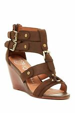 JEFFREY CAMPBELL $109 BROWN LEATHER BUCKLES WEDGE GLADIATOR SANDALS  6.5