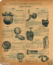 1920 PAPER AD Bicyle Bell Siren Rollfast Horn Bevins New Departure Troxel Saddle