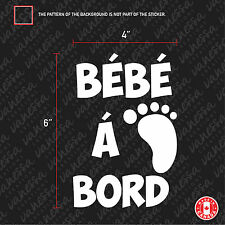 2x BÉBÉ À BORD Sticker White Car decal