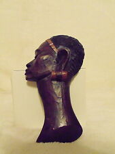 Wood Carved Wall Decor African Woman Head Face Profile Tribal Art 7""