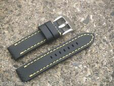 22mm CARBON GRAIN BLACK LEATHER WATCH STRAP WITH YELLOW STITCHING CHROME BUCKLE