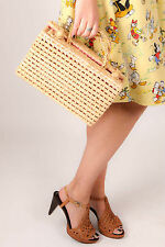 Rockabilly retro pin up Vintage straw box bag lunchbox bag pink gingham lining
