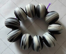 10 ETCHED/MATT PURPLE WITH IVORY SWIRL LAMPWORK BEADS  SRA