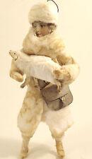 Christbaumschmuck HIRTE aus WATTE mit Lamm und Tasche Oblatengesicht