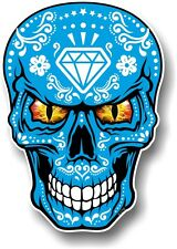 LARGE Realistic Mexican Sugar Skull White On Blue & Evil Eyes car sticker Decal