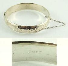 Vintage Signed SMIBO Sterling Silver Hinged Bangle Bracelet with Safety Chain