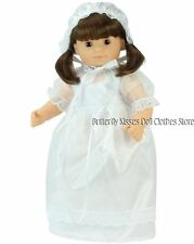 Communion Baptism Dress + Bonnet Doll Clothes For 15 in American Girl Bitty Baby