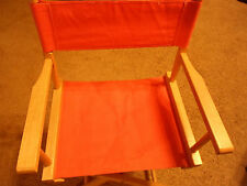 VINTAGE DIRECTORS CHAIR WOOD W ORANGE CANVAS LAWN PATIO FOLDING CAPTAINS SEAT