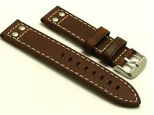 22mm Brown Double Rivet Style Oily Cowhide Leather Men's Watch Strap Fits All 22