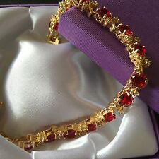 GB154 Gold Filled Bracelet, Ruby Red & White Diamond Gems GIFT BOXED Plum UK