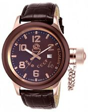Invicta 14310 Russian Diver Swiss Made Quartz S/S.Leather Brown Strap Watch