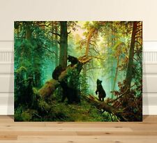 Ivan Shishkin bear cubs in Mist ~ FINE ART CANVAS PRINT 8x12""