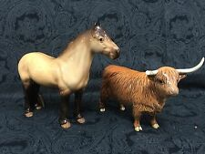 Rare Beswick Highland Porcelain Horse & Bull Large Figurines Model England