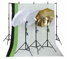Photo Studio Photography Kit 3 Light Bulb Umbrella and Muslin Backdrop Stand Set
