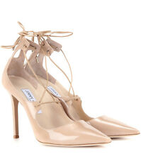Jimmy Choo VITA 100 Nude Patent Leather Pumps Pointy Toe Lace Up Shoe 39  8.5