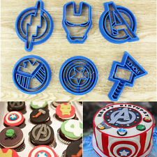 6x Superhero Biscuit Cutter Mould Cookies Mold Set Fondant Cake Decor Sugarcraft