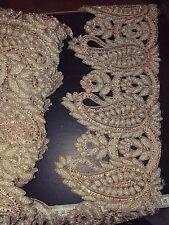 Sari taglio lavoro Perla Oro Matrimonio Indiano Costume Da Ballo NASTRO APPLIQUE CRISTALLO
