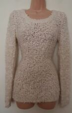 DOROTHY PERKINS 32% WOOL CREAM SLEEVE TUBE FRILLY KNIT KNITTED JUMPER CARDIGAN 8