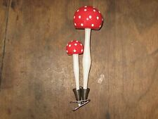 PLEASE L@@K Vintage Double Mushroom Glass Clip On Christmas Ornament