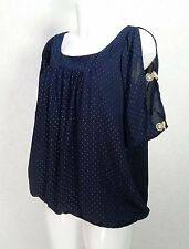 Heena Fashions navy blue Chiffon cold shoulder pleated Blouse s.8 gold studs top