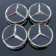 4x Mercedes Benz Classic 75mm Wheel Centre Caps, ALLOY WHEELS Gloss Black