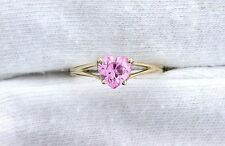 10Kt REAL Yellow Gold 6mm Heart CZ Cubic Zircona Gemstone Gem Stone Sz6 Ring