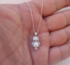 925 STERLING SILVER DESIGNERS PENGUIN PENDANT NECKLACE W/ WHITE PEARL/ DIAMONDS