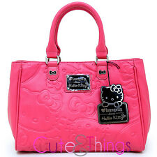 Sanrio Hello Kitty Pink Embossed Tote Bag Satchel Faux Leather Hand Bag