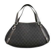 NEW Authentic GUCCI Abbey GG Twin Hobo Tote Bag w/D Ring Brown Denim 293578 1086