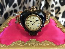 Betsey Johnson Vintage Miami Chic TIME FLIES Black Heart Clock Locket Bracelet