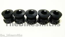 BLACK Singlespeed Chainring Crank Bolts 8mm BMX Fixed Gear Bike 5 Pack Steel