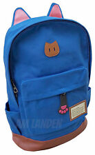 AM Landen Super Cute Light Weight Canvas CAT Ears Laptop Backpack(Diamond Blue)