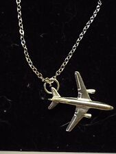 "Airbus A300 c134 Aeroplane On a 20"" Silver Plated Curb Chain Necklace"