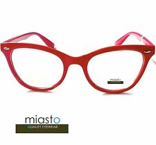 MIASTO CAT EYE FASHION EYEWEAR CLEAR LENS GLASSES ~POSTAL RED(SKEETER,THE HELP)