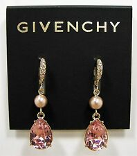 Givenchy Blush Pink Rose Crystal Teardrop Gold Tone Drop Earrings MSRP $48