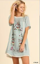 UMGEE XL Floral Embroidered Lace Trim Boho Dress Pale Blue Peasant Tunic Top NEW