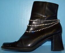 TRIPLE ROW CRYSTAL CHAIN SILVER tone BOOT STILETTO HEELS JEWELRY ANKLET NEW