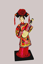 Traditional Chinese Art Silk Figurine Doll Statue 12.5""